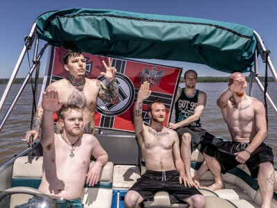 Mark Peterson, Redux Images for New York - Members of the white supremacist group Shield Wall Network celebrate Hitler's birthday, on Lake Dardanelle, Arkansas, USA.