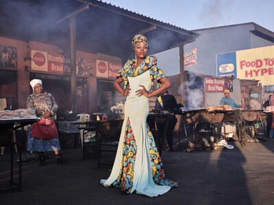 Lee-Ann Olwage -Belinda Qaqamba Ka-Fassie, a drag artist and activist, poses at a shisanyama—a community space where women cook and sell meat—in Khayelitsha, a township located on the Cape Flats, near Cape Town, South Africa.