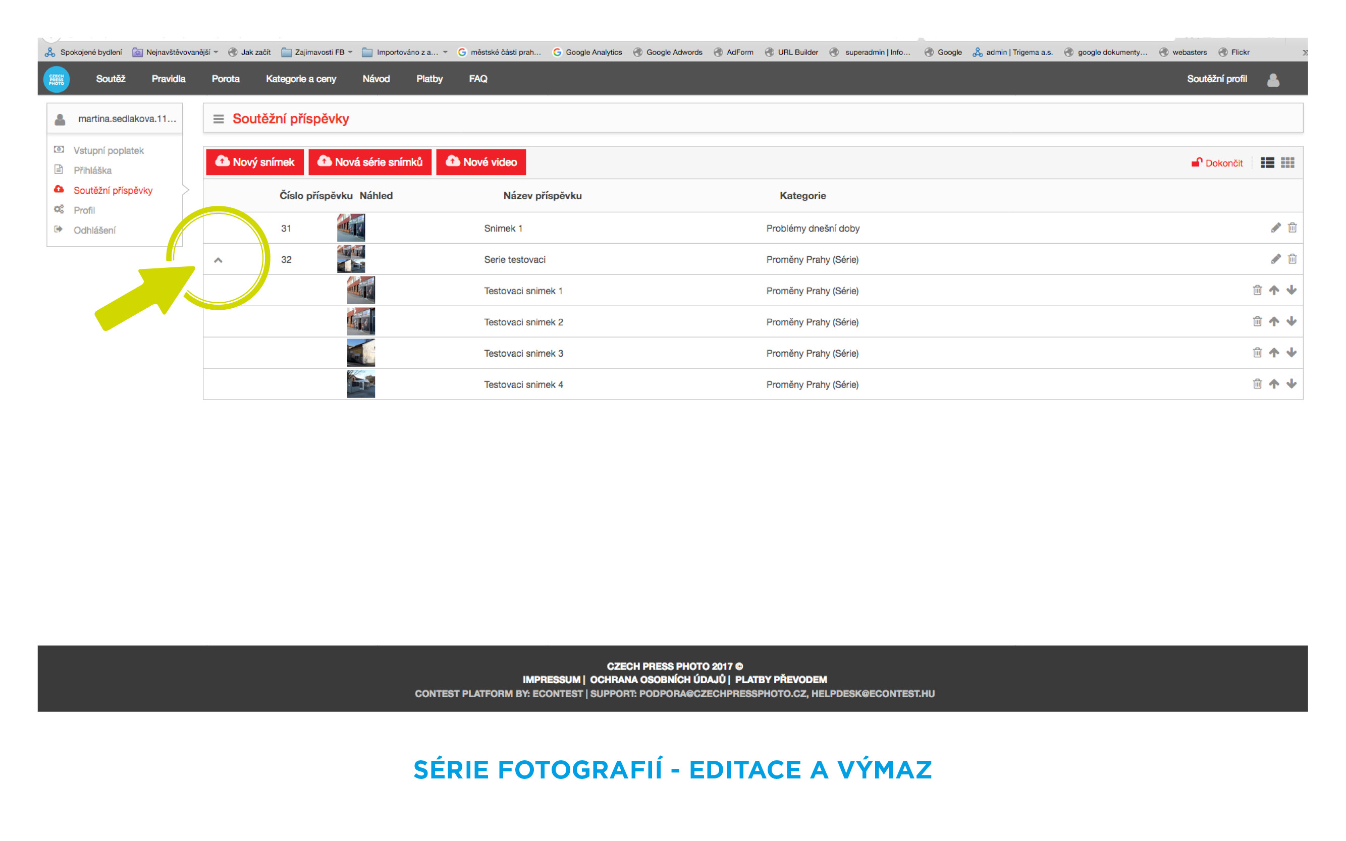 serie fotografií - editace, výmaz náhledy