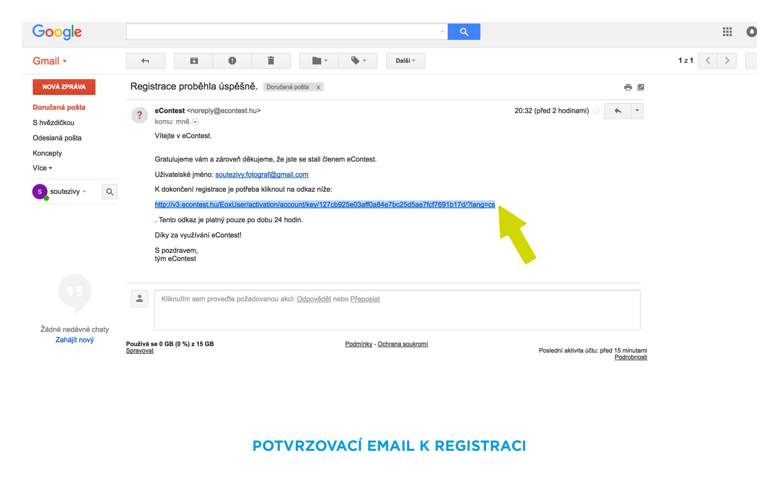 potvrzovací email registrace